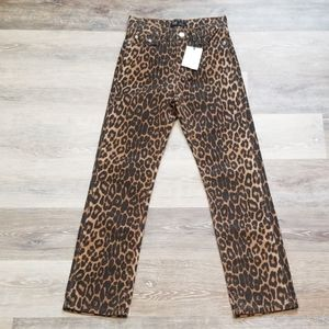 NWT Zara High Rise Straight Crop Leopard Jean 00